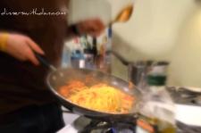 Mixing the Garlic & Tomato Spaghetti