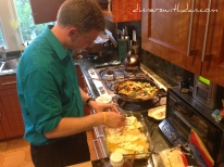 Dan putting the Vegetable Lasagna together