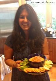 Simmy and her homemade Hummus and Romesco Sauce