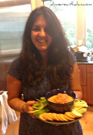 Simmy and her homemade Hummus and Romesco Sauce